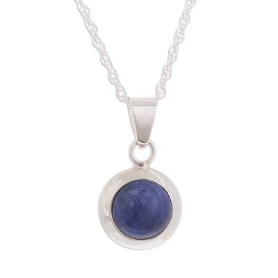 Round Natural Sodalite Pendant Necklace from Peru