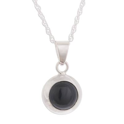 Round Natural Obsidian Pendant Necklace from Peru