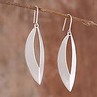 Sterling silver dangle earrings, 'Gleaming Slits' - Modern Polished Sterling Silver Dangle Earrings from Peru