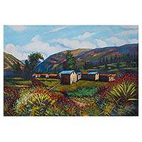 'Charm' - Signed Impressionist Painting of a Mountainside Village