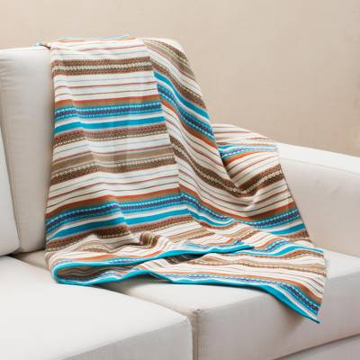Alpaca blend throw, 'Morning Stripes' - Handwoven Striped Alpaca Blend Throw from Peru