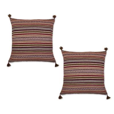 Alpaca blend cushion cover, 'Pre-Hispanic Earth' - Handwoven Striped Alpaca Blend Cushion Cover from Peru