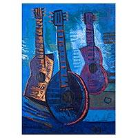 'Music in Blue' - Signed Expressionist Painting of Guitars in Blue from Peru