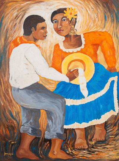 'Dance the Marinera' - Signed Expressionist Painting of Marinera Dancers from Peru