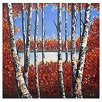 'Foreign View' (2018) - Signed 2018 Impressionist Painting of Trees with Red Leaves