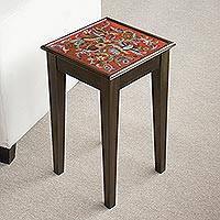 Reverse-painted glass accent table, 'Birds in the Red Skies'