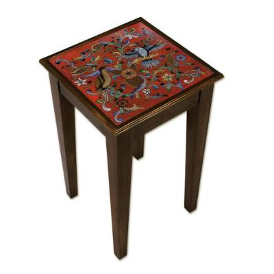 Reverse-painted glass accent table, 'Birds in the Red Skies' - Floral and Bird Motif Reverse-Painted Glass Accent Table