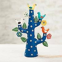 Ceramic sculpture, 'Blue Tree of Doves' - Hand-Painted Ceramic Dove Tree Sculpture in Blue from Peru