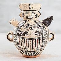 Ceramic decorative vase, 'Mythic Chancay' - Mythic Chancay-Inspired Ceramic Decorative Vase from Peru