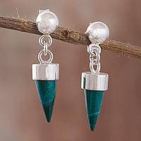 Chrysocolla dangle earrings, 'Natural Cones' - Chrysocolla Cone Dangle Earrings from Peru