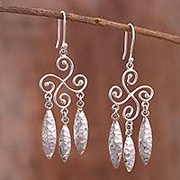 Sterling silver chandelier earrings, 'Leaf Symphony' - Spiral Pattern Sterling Silver Chandelier Earrings from Peru