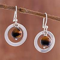 Tiger's eye dangle earrings, 'Beautiful Planets' - Circular Tiger's Eye Dangle Earrings from Peru