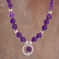 Amethyst beaded pendant necklace, 'Beautiful Planets' - Amethyst Beaded Pendant Necklace from Peru