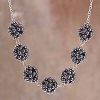 Hematite pendant necklace, 'Gleaming Clusters' - Sterling Silver Hematite Cluster Pendant Necklace from Peru