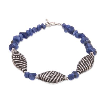 Spiral Pattern Sodalite Beaded Bracelet from Peru
