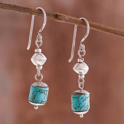 Sterling silver dangle earrings, 'Brilliance of the Ocean' - Sterling Silver and Recon. Turquoise Dangle Earrings
