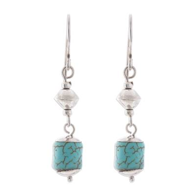 Sterling Silver and Recon. Turquoise Dangle Earrings