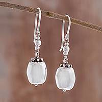 Sterling silver dangle earrings, 'Gleaming Elegance' - High-Polish Sterling Silver Dangle Earrings from Peru