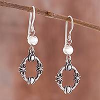 Sterling silver dangle earrings, 'Elegant Warrior'