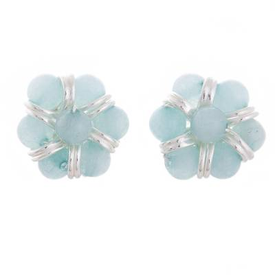 Amazonite Beaded Button Earrings from Peru