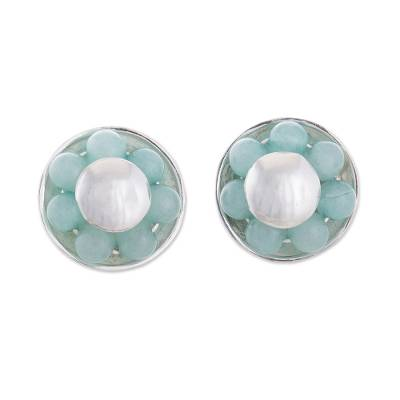 Round Amazonite Button Earrings from Peru