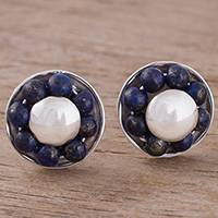 Lapis lazuli button earrings, 'Orb Shields' - Round Lapis Lazuli Button Earrings from Peru