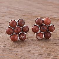 Jasper button earrings,