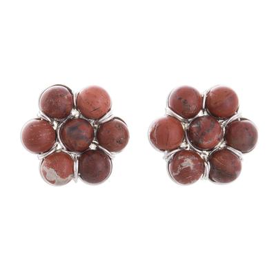Jasper Beaded Button Earrings Crafted in Peru