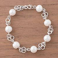 Cultured pearl station bracelet, 'Orb Glow' - Cultured Pearl Station Bracelet Crafted in Peru
