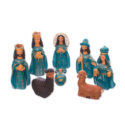 Handcrafted Ceramic Nativity Scene in Blue (Set of 8)