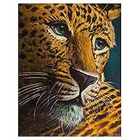 'Leopard' (2018) - Signed Realist Painting of a Yellow Leopard from Peru (2018)