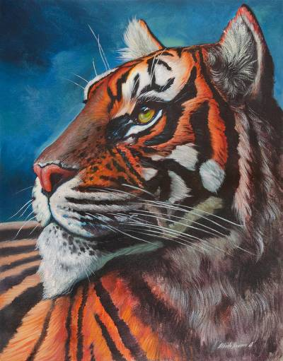 Signed Realist Painting of an Orange Tiger from Peru (2018)