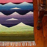 Wool rug, 'Sunrise' (4x5) - Hand Woven Wool Area Rug from Peru (4x5)