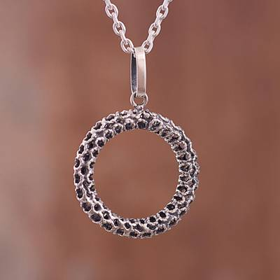 Sterling silver pendant necklace, 'Cosmic Circle' - Circular Sterling Silver Pendant Necklace Crafted in Peru