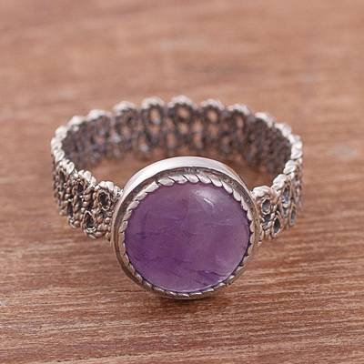 Amethyst cocktail ring, 'Amethyst Power' - Natural Amethyst Cocktail Ring from Peru