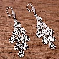 Sterling silver filigree dangle earrings, 'Dancing Rain' - Drop Motif Sterling Silver Filigree Dangle Earrings