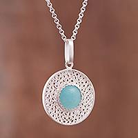 Amazonite filigree pendant necklace, 'Fascinating Style' - Amazonite Filigree Pendant Necklace from Peru