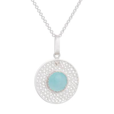 Amazonite Filigree Pendant Necklace from Peru