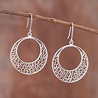 Sterling silver filigree dangle earrings, 'Astral Circles' - Circular Sterling Silver Filigree Dangle Earrings from Peru