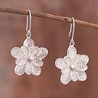 Sterling silver filigree dangle earrings, 'Enchanted Petals' - Handcrafted Sterling Silver Filigree Dangle Earrings