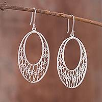 Sterling silver filigree dangle earrings, 'Oval Drops' - Oval Sterling Silver Filigree Dangle Earrings from Peru