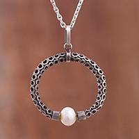 Cultured pearl pendant necklace, 'Cosmic Pearl' - Circular Cultured Pearl Pendant Necklace from Peru
