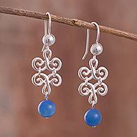 Agate dangle earrings, 'Colonial Blue' - Spiral Pattern Blue Agate Dangle Earrings from Peru