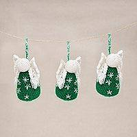 Hand-crocheted ornaments, 'Festive Angels in Green' (set of 3) - Crocheted Angel Ornaments in Green from Peru (Set of 3)