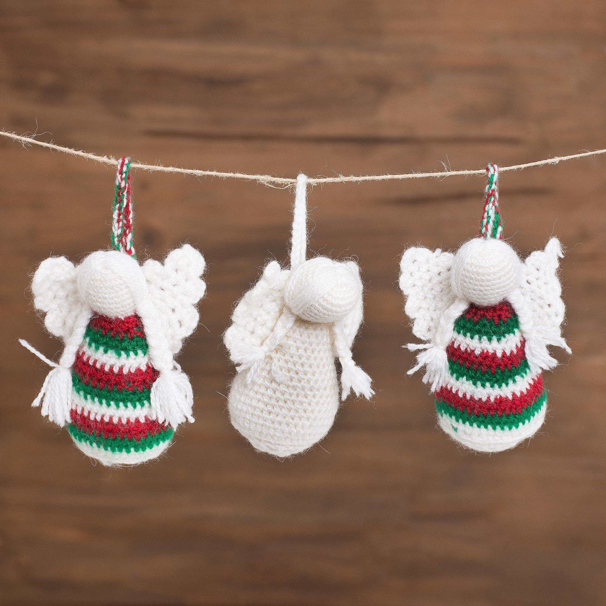 Crocheted Angel Ornaments From Peru Set Of 3 Sweet Festivity