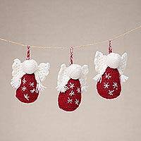 Hand-crocheted ornaments, 'Festive Angels in Red' (set of 3) - Crocheted Angel Ornaments in Red from Peru (Set of 3)