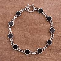 Onyx link bracelet, 'Midnight Soiree' - Onyx Disc and Sterling Silver Link Bracelet from Peru