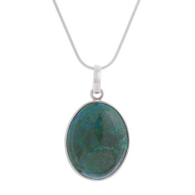 Chrysocolla pendant necklace, 'Lovely Lagoon' - Oval Chrysocolla Set in Sterling Silver Pendant Necklace