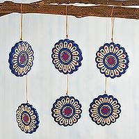 Ceramic ornaments, 'Blooming Mandalas' (set of 6) - Hand-Painted Ceramic Flower Ornaments from Peru (Set of 6)
