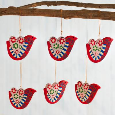 Ceramic ornaments, 'Doves of the Heart' (set of 6) - Hand-Painted Ceramic Dove Ornaments from Peru (Set of 6)
